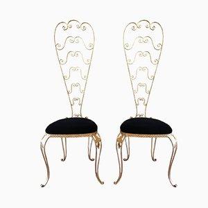 Italienische Vintage Vintage Stühle mit hoher Rückenlehne von Pierluigi Colli, 2er Set