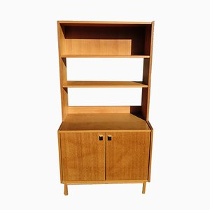 Librería vintage de madera con estantes regulables, años 70