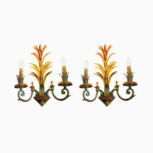 Mid-Century Italian Painted Sconces, Set of 2