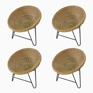 Vintage Rattan Basket Chairs, Set of 4