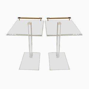 Mesas auxiliares de plexiglás y latón, años 80. Juego de 2