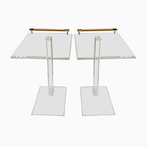 Plexiglas & Brass Side Tables, 1980s, Set of 2