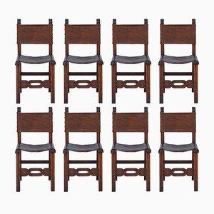 Esszimmerstühle aus Eiche & Leder, 1940er, 8er Set