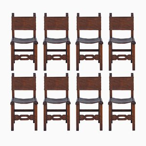 Oak & Leather Dining Chairs, 1940s, Set of 8