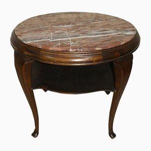 Tavolino Mid-Century in legno scuro e marmo