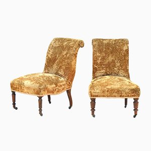 Antique French Slipper Chairs, Set of 2