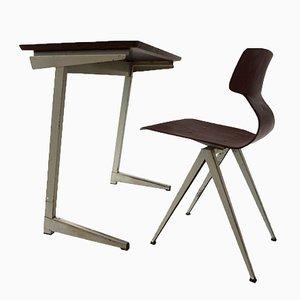 Escritorio holandés industrial de contrachapado y silla de Galvanitas, años 60