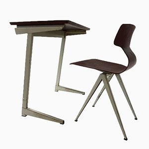 Industrial Dutch Plywood Writing Desk and Chair from Galvanitas, 1960s