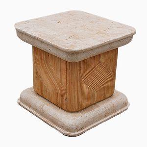Tavolino in travertino e bambù, anni '80
