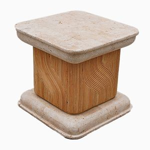 Travertine and Bamboo Side table, 1980s
