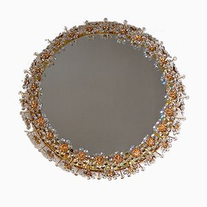 Circular Back-Lit Mirror with Crystal Flowers from Palwa, 1960s