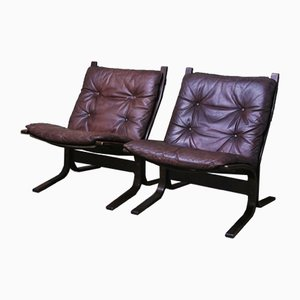 Mid Century Leather Siesta Lounge Chairs by Ingmar Relling for Westnofa, 1960s, Set of 2