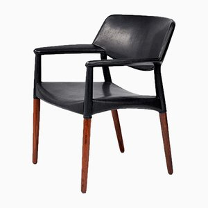 Rosewood and Leather Armchair by Aksel Bender-Madsen and Ejner Larsen for Willy Beck, 1964