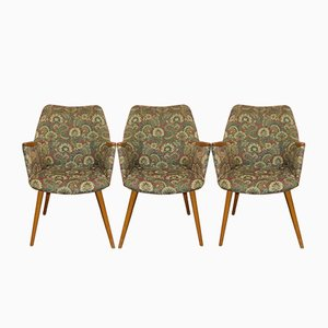 Gemusterte Mid-Century Cocktail Chairs, 3er Set