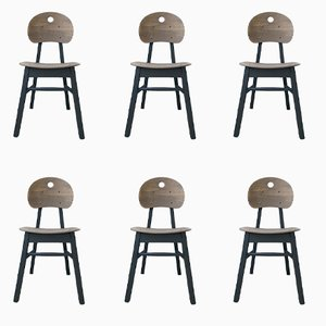 Vintage matt black beech chairs