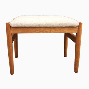 Danish Oak and Faux Lamb Ottoman by Hugo Frandsen for Spøttrup, 1960s