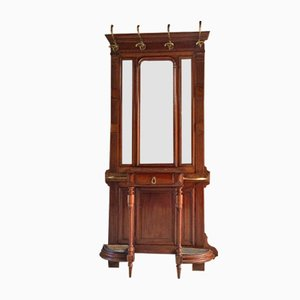 Antique French Walnut & Marble Coat Stand with Mirror
