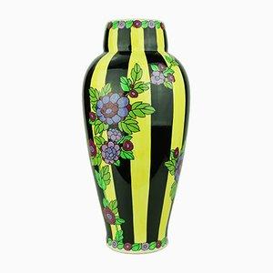 Gestreifte Art Deco Vase von Charles Catteau für Boch La Louviere, 1921