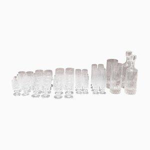 Bicchieri in cristallo con caraffa e bottiglie, anni '30, set di 44