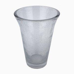 Große Vase aus Glas mit Blasen von Daum, 1940er