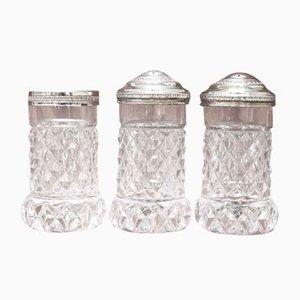 Salz- und Pfefferstreuer aus Kristallglas, 1930er, 3er Set