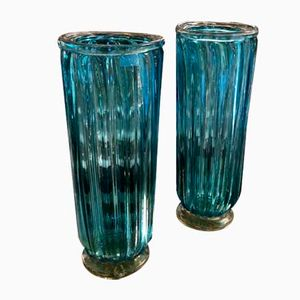 Murano Glass Vases, 1985, Set of 2