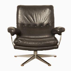 Schwarzer Armlehnstuhl aus Leder & Chrom von Topform
