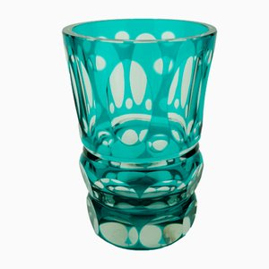 Vintage Turquoise Vase from Val Saint Lambert, 1950s