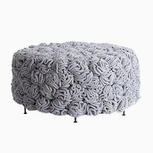 Puf de poliéster y algodón gris de lota