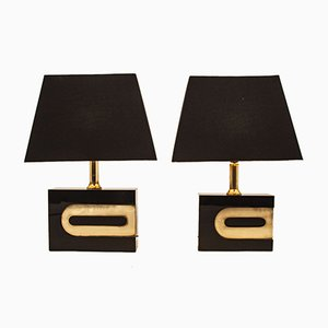 Black-Lacquered Table Lamps, 1970s, Set of 2
