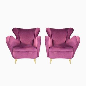 Italienische Vintage Sessel von ISA Bergamo, 1950er, 2er Set