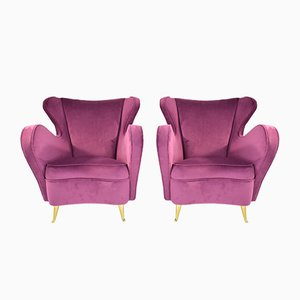 Vintage Italian Armchairs from ISA Bergamo, 1950s, Set of 2