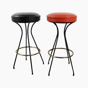 Mid-Century Metal Stools, Set of 2