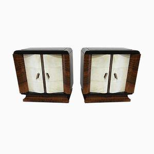 Art Deco Italian Parchment Nightstands, 1930s, Set of 2