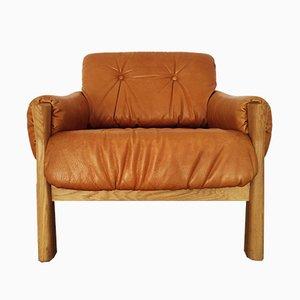 Dänischer Sessel aus Leder & Eiche, 1960er