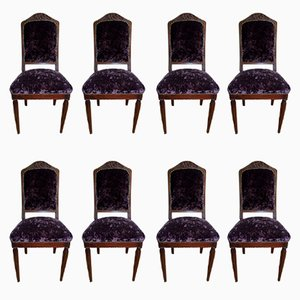 Vintage Art Deco Chairs by Gauthier Poinsignon, Set of 8