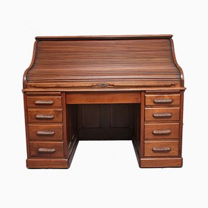 Antique Walnut Roll Top Desk, 1910s