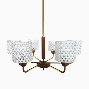 Mid-Century Scandinavian Brass, Copper, Teak & Glass Chandelier, 1960s