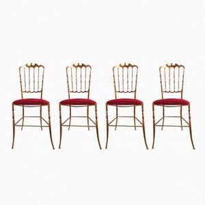 Mid-Century Chiavari Brass Chairs, Set of 4