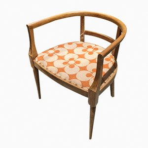 Italian Wooden Side Chair with Geometric Pattern