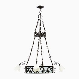 Large Antique Wrought Iron and Frosted Glass Chandelier