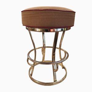 Sgabello girevole vintage in ottone di Gasser Chair Co.