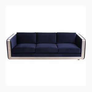 Mid-Century Modern Sofa with Chrome Armrests