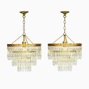Vintage Spanish Cut Glass and Brass Chandeliers, 1950s, Set of 2