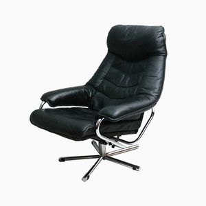 Mid-Century Norwegian Reclining Leather Lounge Chair from Skoghaug Industries