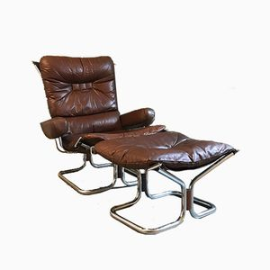 Vintage Model Wing Lounge Chair & Ottoman by Harald Relling for Westnofa
