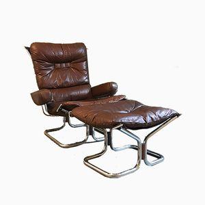 Vintage Modell Wing Sessel & Fußhocker von Harald Relling für Westnofa