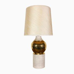 Goldene Vintage Tischlampe aus Keramik von Bitossi für Bergboms, 1960er