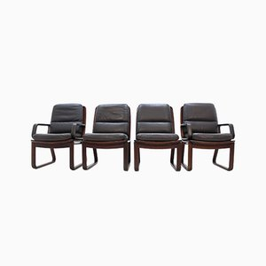 Leather Armchairs by Eugen Schmidt, 1970s, Set of 4