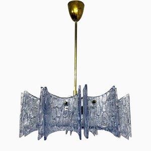 Lámpara de araña vintage con vidrios de dispersión de Stölzle, años 60